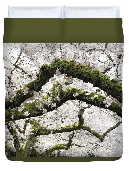 Duvet Cover featuring the photograph Cherry Blossoms 104 by Peter Simmons