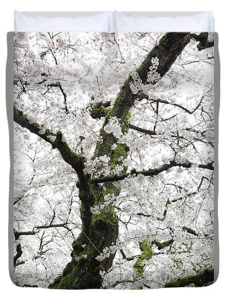 Duvet Cover featuring the photograph Cherry Blossoms 119 by Peter Simmons