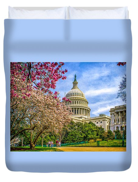 Cherry Blossoms At The Capitol Duvet Cover by Nick Zelinsky