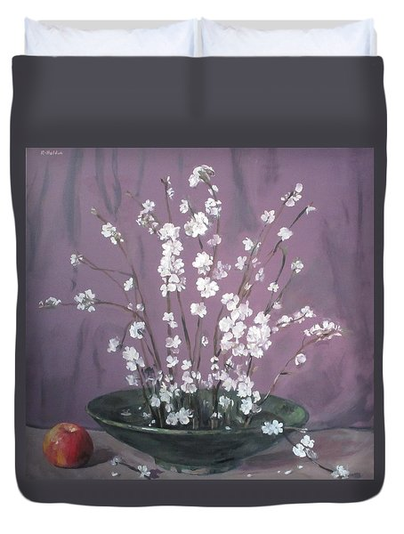Peach Blossoms In Ikebana Bowl Duvet Cover