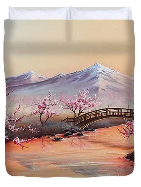 Cherry Blossoms In The Mist - Revisited Duvet Cover