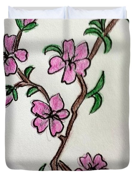 Duvet Cover featuring the painting Cherry Blossoms by Margaret Welsh Willowsilk