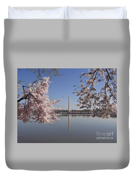 Cherry Blossoms Monument Duvet Cover by April Sims