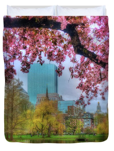Duvet Cover featuring the photograph Cherry Blossoms Over Boston by Joann Vitali