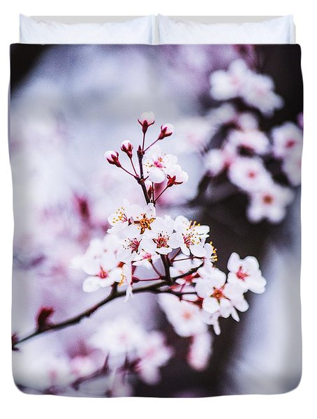 Duvet Cover featuring the photograph Cherry Blossoms by Parker Cunningham