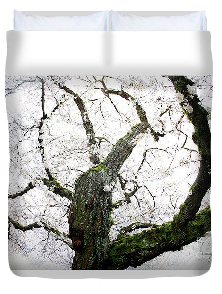 Duvet Cover featuring the photograph Cherry Blossoms by Peter Simmons