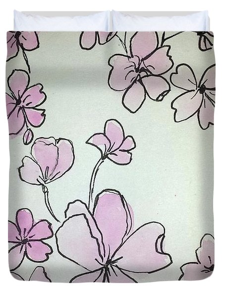 Duvet Cover featuring the painting Cherry Blossoms Sketch by Margaret Welsh Willowsilk