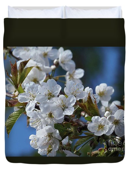 Duvet Cover featuring the photograph Cherry Blossoms by Victor K