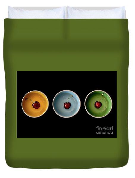 Cherry Color Block Experiment Duvet Cover