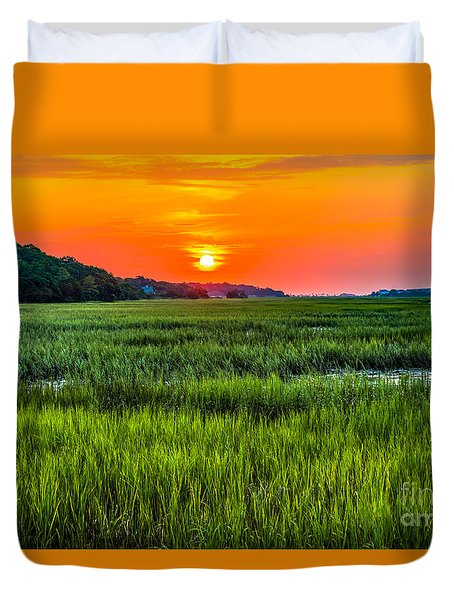 Cherry Grove Marsh Sunrise Duvet Cover by David Smith
