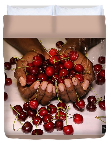 Cherry In The Hands Duvet Cover by Paul SEQUENCE Ferguson             sequence dot net