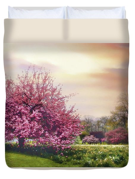 Duvet Cover featuring the photograph Cherry Orchard Hill by Jessica Jenney