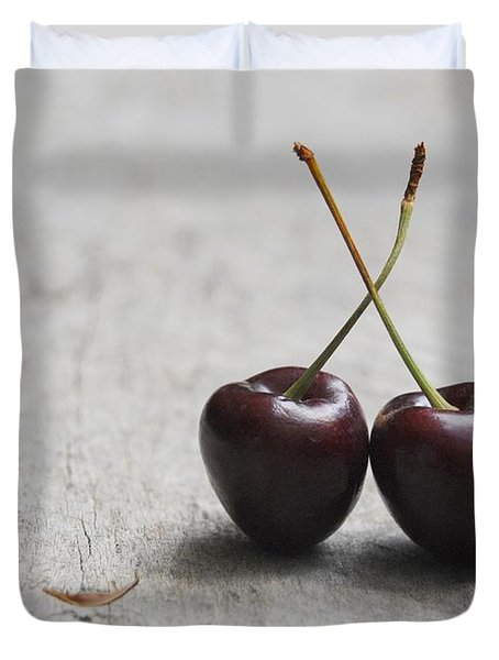 Duvet Cover featuring the photograph Cherry Pair by Jocelyn Friis