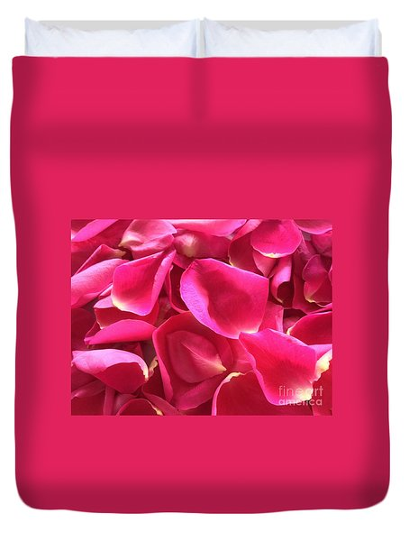 Cherry Pink Rose Petals Duvet Cover
