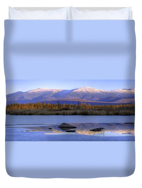 Cherry Pond Reflections Panorama Duvet Cover