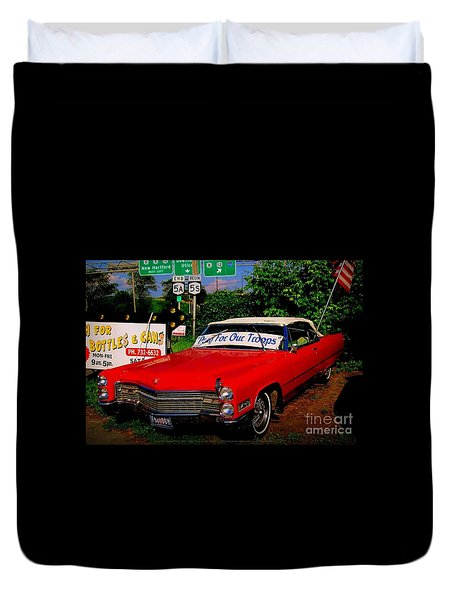 Cherry Red American Patriot 1966 Cadillac Coupe De Ville Duvet Cover