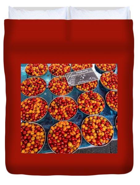 Cherry Tomatoes In Lyon Market Duvet Cover