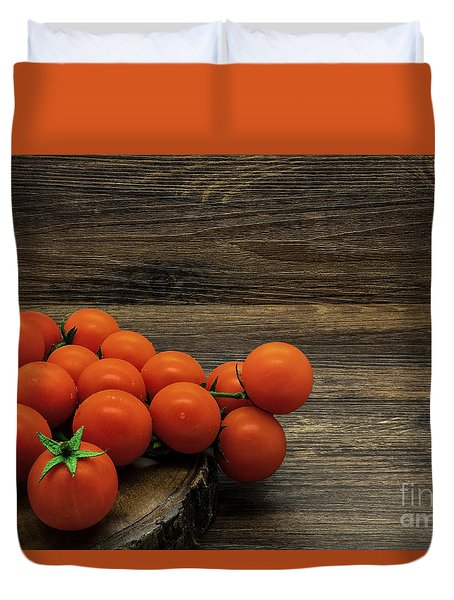 Cherry Tomatoes On A Rustic Background Duvet Cover
