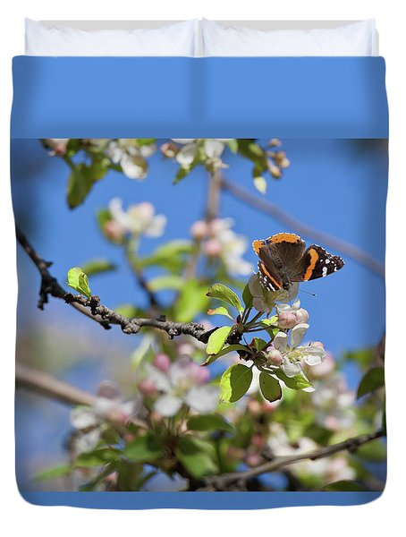 Monarch Butterfly On Cherry Tree Duvet Cover