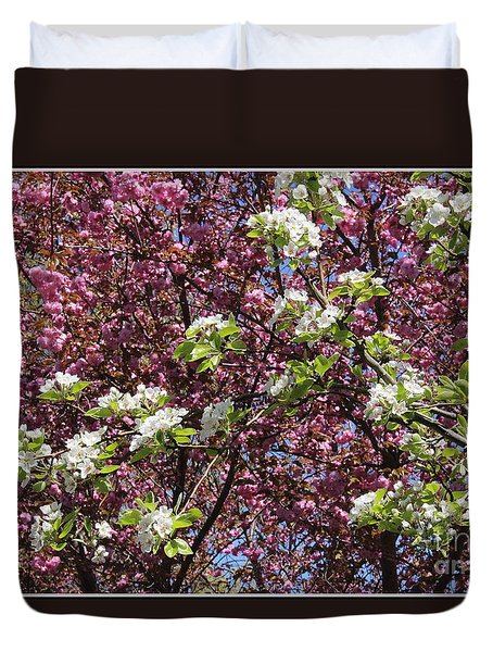 Cherry Tree And Pear Blossoms Duvet Cover