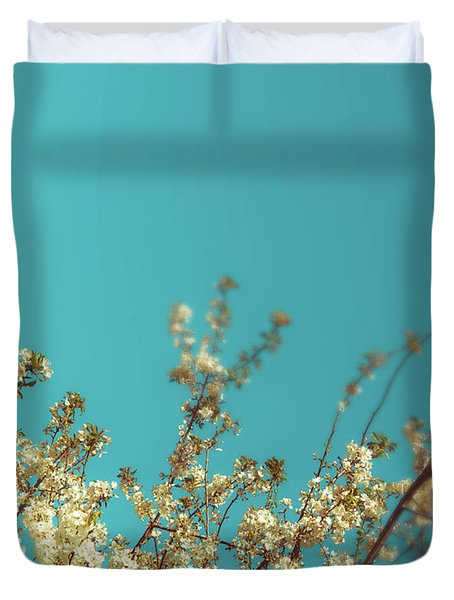 Cherry Tree Blossoms Duvet Cover