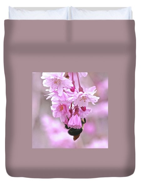 Cherry Tree With Bee Duvet Cover