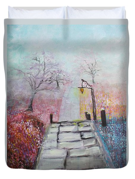 Cherry Trees In Fog Duvet Cover