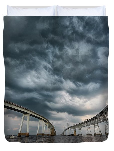 Chesapeake Bay Bridge Storm Duvet Cover