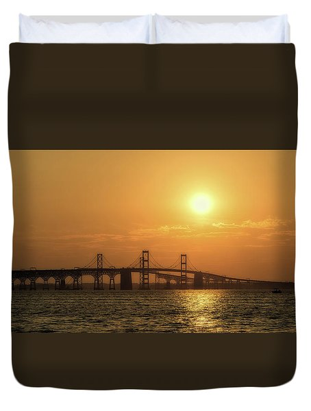Chesapeake Bay Bridge Sunset I Duvet Cover