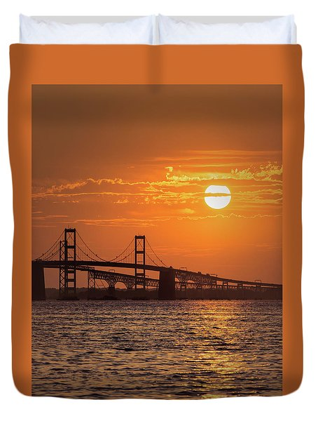 Chesapeake Bay Bridge Sunset II Duvet Cover