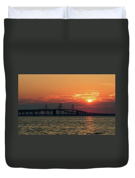 Chesapeake Bay Bridge Sunset 3 Duvet Cover