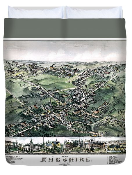 Cheshire Connecticut 1882 Map Duvet Cover