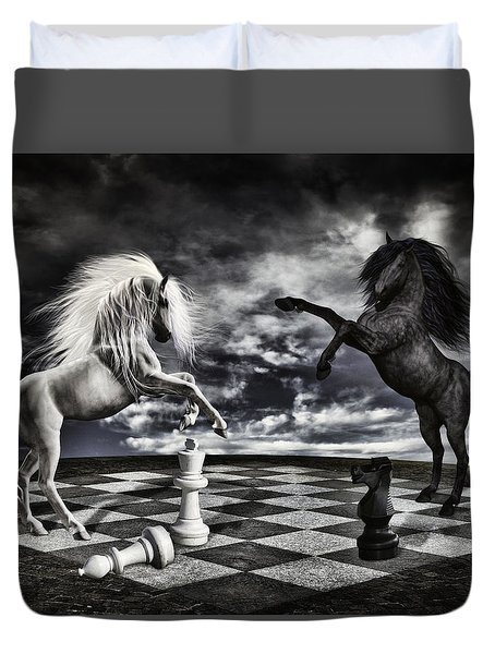 Chess Players Duvet Cover by Mihaela Pater