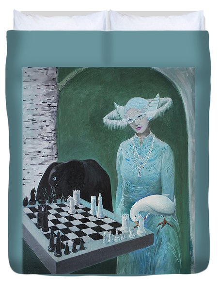 Chess - The Queen Waits Duvet Cover by Tone Aanderaa