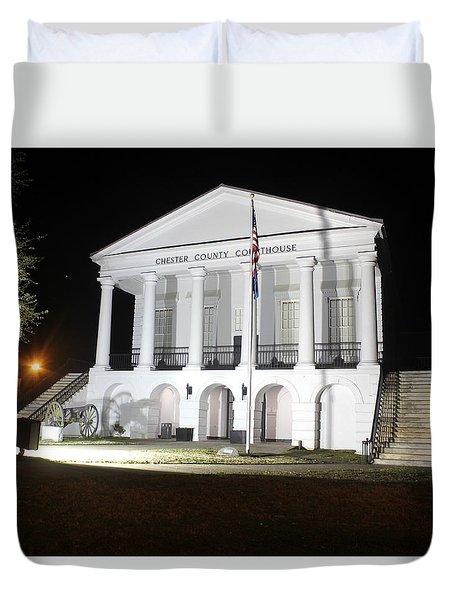 Chester South Carolina Court House Night 1 Duvet Cover