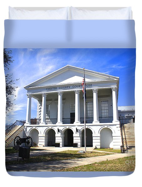 Duvet Cover featuring the photograph Chester South Carolina Court House Day 1 by Joseph C Hinson Photography