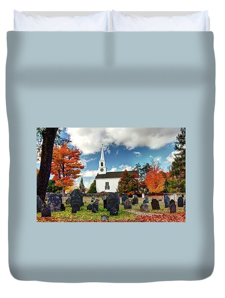Duvet Cover featuring the photograph Chester Village Cemetery In Autumn by Wayne Marshall Chase