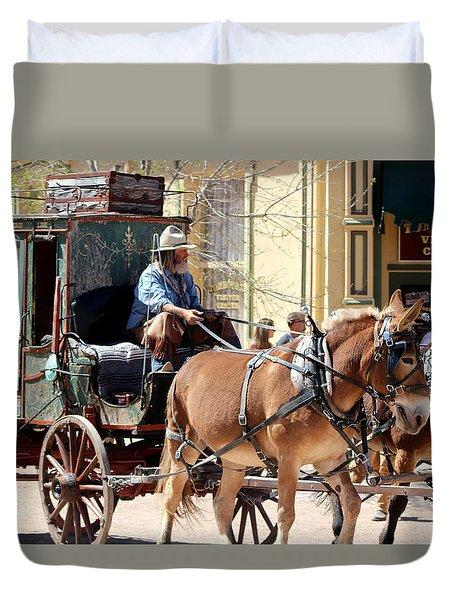 Chestnut Horses Pulling Carriage Duvet Cover
