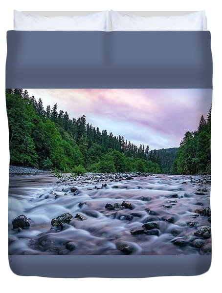 Duvet Cover featuring the photograph Chetco River Sunset 2 by Leland D Howard