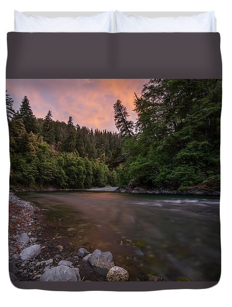 Duvet Cover featuring the photograph Chetco River Sunset by Leland D Howard