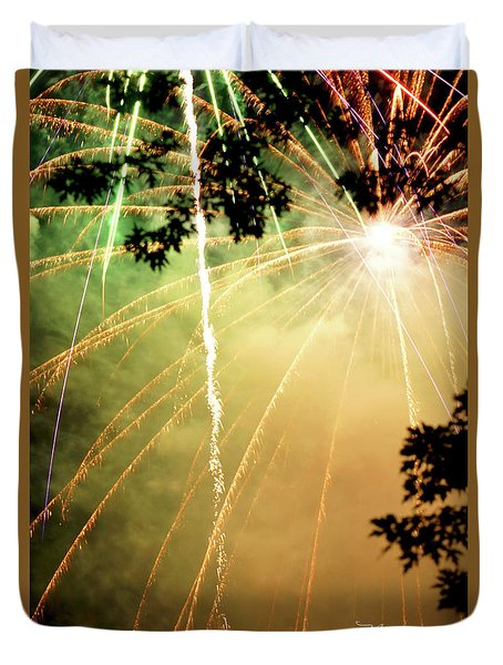 Duvet Cover featuring the photograph Chetola Yellow Fireworks by Meta Gatschenberger