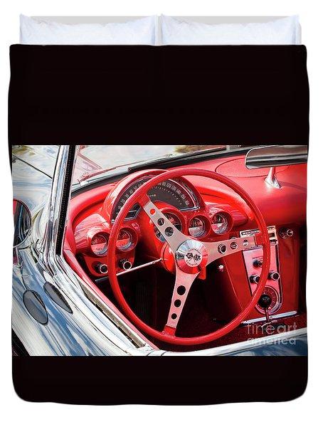 Duvet Cover featuring the photograph Chevrolet Corvette Dash by Chris Dutton