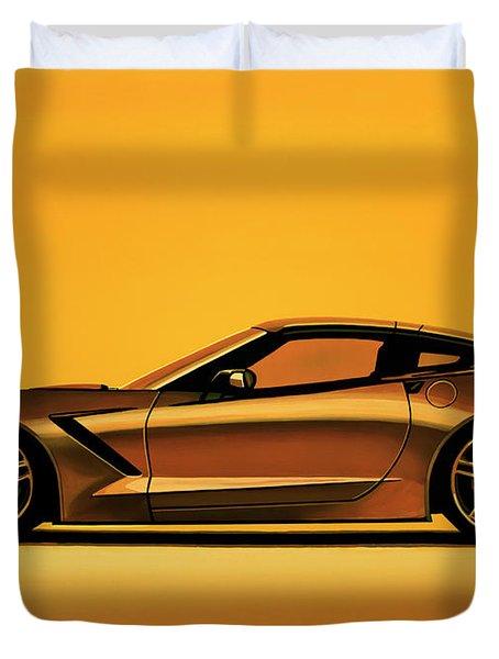 Chevrolet Corvette Stingray 2013 Painting Duvet Cover