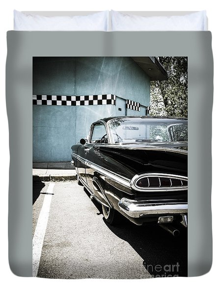 Chevrolet Impala In Front Of American Diner Duvet Cover