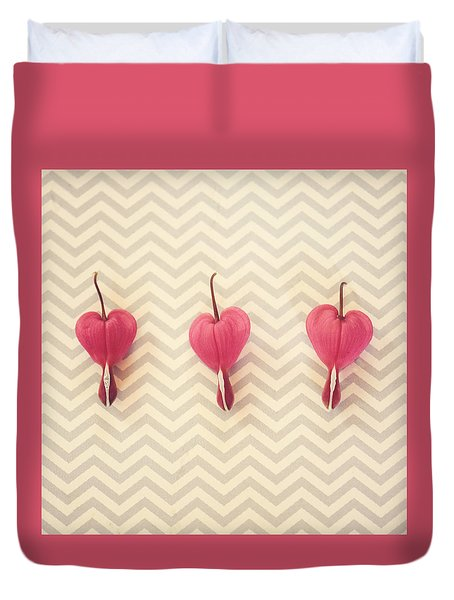 Chevron Hearts Duvet Cover by Robin Dickinson
