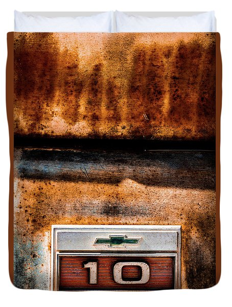 Chevy C10 Rusted Emblem Duvet Cover