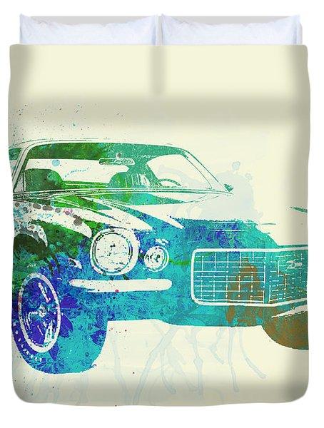 Chevy Camaro Watercolor Duvet Cover