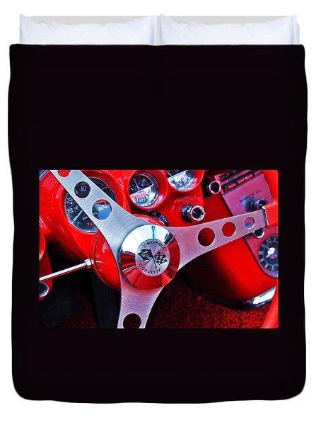 Chevy Corvettte Steering Wheel Duvet Cover
