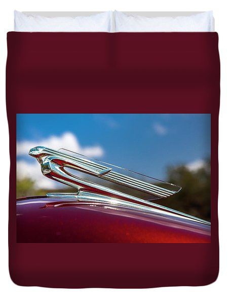Duvet Cover featuring the photograph Chevy Flying Lady by Melinda Ledsome