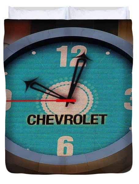 Chevy Neon Clock Duvet Cover by Rob Hans